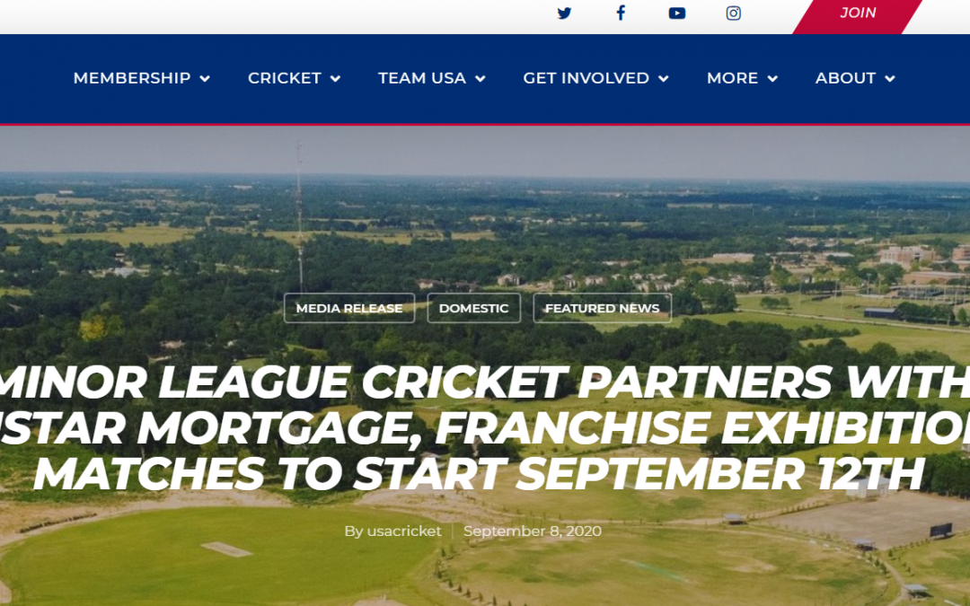 MINOR LEAGUE CRICKET PARTNERS WITH SISTAR MORTGAGE, FRANCHISE EXHIBITION MATCHES TO START SEPTEMBER 12TH
